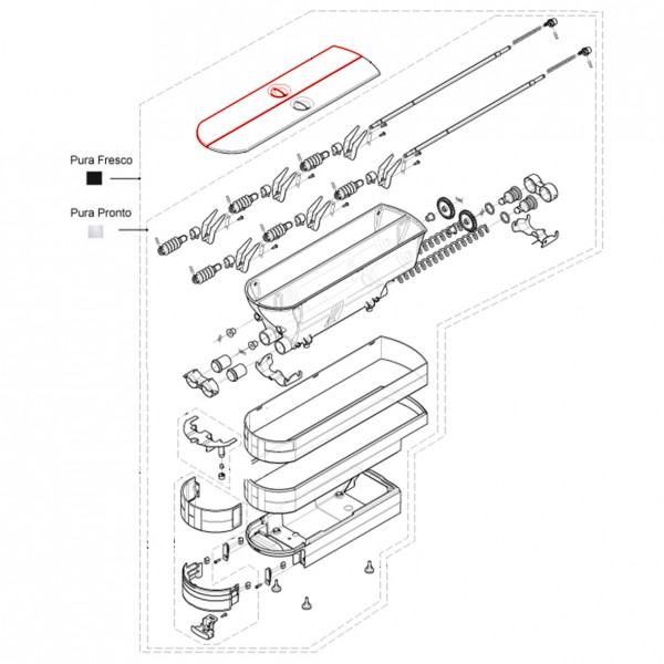 Pulverbehälterdeckel links